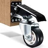 SOLEJAZZ Juego de ruedas para banco de trabajo, 400 kg de capacidad, para trabajo pesado, retráctil, para banco de trabajo, ruedas de uretano de construcción de acero, paquete de 4