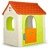 Feber - Fantasy House, casita infantil de juegos con puerta abatible, para jugar al aire libre o en casa, multicolor, casa resistente y de facil montaje, para niños de 2 a 6 años, FAMOSA (800010237)
