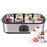 MVPower Yogurtera con Tarros y Temporizador de Acero Inoxidable, 8 Tarros de 180ml, Máquina de yogur digital automática