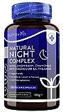 Suplemento Natural para el Sueño - toronjil, manzanilla, 5HTP, L-teanina, magnesio, vitamina B12-para el funcionamiento óptimo del sistema nervioso-120 cápsulas veganas-manufacturado por Nutravita