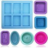 FineGood - Moldes de silicona para hacer jabón, 13 unidades, de grado alimenticio, molde suave para hornear magdalenas y magdalenas para manualidades caseras, color azul, rojo rosa, morado, verde