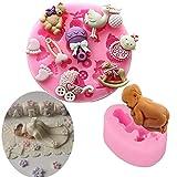 Molde de silicona para tartas de bebé, para decoración de tartas, dulces, chocolate, galletas, pasta de goma para hornear, azúcar, 2 unidades, color gris