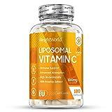 Vitamina C Liposomal 1000mg Con Rosa Mosqueta 180 Cápsulas - Refuerza Sistema Inmunológico, Vitamina C Pura de Alta Absorción, Antioxidante Natural, Reduce Cansancio Y Fatiga, Con Ácido Ascórbico