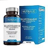Glucosamina con Condroitina, MSM y Colágeno | Mantenimiento de Huesos Normales con Glucosamina, Condroitina, MSM, Colágeno, Ácido Hialurónico, Boswelia, Selenio, Zinc | 120 Comprimidos Nutralie