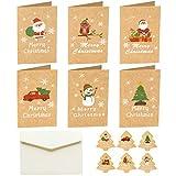 Navidad Tarjeta de Felicitación, Navidad Conjunto, 36 Piezas Tarjetas de Navidad de 6 Modelos + 36 Pegatinas Navideñas + 36 Sobres, Tarjeta de Felicitación en Blanco para Saludos Familiares