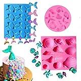 Herefun 3 Paquetes moldes de pastel de silicona fondant, DIY moldes cake mold alimentos Serie Océano 3D de silicona torta de la pasta de chocolate para Hornea Colas de Sirena