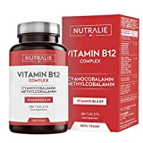Vitamina B12 Vegana 2000mcg Cianocobalamina y Metilcobalamina   Alta Potencia Sin Aditivos   Reducción Cansancio y Formación Glóbulos Rojos con B9 y B6   120 Comprimidos Veganos Nutralie