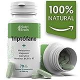 Natural Triptófano con Melatonina y Espirulina para mejorar el sueño, reducir la ansiedad, aumentar la energía, la concentración y el bienestar - 70 Comprimidos