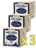 MARIUS FABRE - JABON DE Marsella con Aceite de Oliva, 200 gr - Pack de 3 Cub