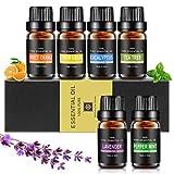 Aceites Esenciales, Aiemok Aromaterapia Essential Oils Set 100% Puro y Naturales, 6 Set de Regalo de Aceites de Aromaterapia de Lavanda, Arból de Té, Menta, Naranja Dulce, Limoncillo, Eucalipto