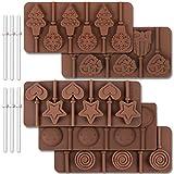 Molde de silicona para paleta de 6 cavidades de Cozihom, molde de chocolate, típico redondo, estrellas y corazones, lazos, Navidad, cara sonriente, 5 piezas y 130 palitos de piruleta.
