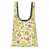 Flores coloridas flores de primavera temáticas flores flores flores verano flores funky niñas diseño rosa caléndula verde lima reutilizable bolsas de comestibles, bolsa de compras ecológica