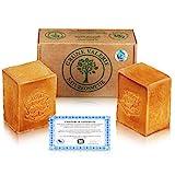 Originale Aleppo Seife 2 x 200g mit 80% Olivenöl 20% Lorbeeröl - PH Wert 8 - Detox Eigenschaften - veganes Naturprodukt - Handarbeit - über 6 Jahre gereift!