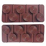MINGZE 2 piezas molde de piruleta de silicona con 6 agujeros, rayos de cubo de hielo, molde de silicona DIY moldes de chocolate redondos y barra de plástico 12 piezas