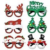 WolinTek 6 Piezas Diadema navideña y Marco de Gafas de Navidad Navidad Banda de Pelo Fiesta Decoración Accesorios Photobooth Disfraz para Niños y Adultos Fiesta de Navidad
