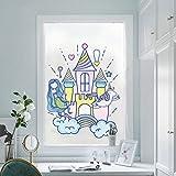 PVCOLL Pegatina De Ventanas Película De La Ventana Pegatina Ventana Mermaid Castle Scrub Window Glass Foil Sticker Blackout Bathroom Household Kitchen Bathroom Children's Room Sticker, 100X40Cm