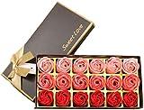 18 piezas de jabón de flor de rosa - fragancia de flor de rosa - jabón vegetal con aceites esenciales, regalo para cumpleaños/aniversario/boda/día de San Valentín (rojo)