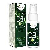 Vitamina D3 + K2 Spray Vegavero | 100% Vegano | Sabor Manzana | Rápida Absorción | Testado en Laboratorio | 125 Pulverizaciones | Calcio + Huesos* | Colecalciferol + Menaquinona-7 (K2 MK-7)