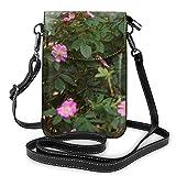 Lawenp Bolso bandolera pequeño para teléfono móvil para mujer, cartera para smartphone con hombro extraíble para ir de compras Preciosas flores rosadas de perro-rosa o brezo Flores rosas ornamentales