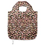 ABAKUHAUS Flor Bolsa Reutilizable Plegable para Compras, Retro flores de los tulipanes, de Tela con Estampa Digital Colores Durables Lavable, Coral Crema de cacao