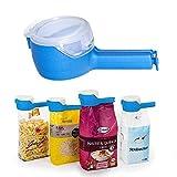 Clip de Sellado facil para Bolsa de Alimentos - Set de 4 Pinzas plasticas de Sellado con dispensador para conservar Cereales o Almacenamiento de Comida en su empaque Original. - Marfrand
