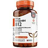 Vitamina B12 Vegana 1000mcg Alta Potencia - 365 Comprimidos Vegana (Suministro de 12 Meses) - Contribuye a la Reducción del Cansancio y la Fatiga - Hecho en el Reino Unido por Nutravita