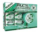 Garnier Fructis Hair Food Pack Aloe Vera Hidratante con Champú, Acondicionador y Mascarilla para Pelo Normal a Seco, Limpia, Suaviza y Nutre, Cabello Suave y Sin Apelmazar, Set de 3 Productos