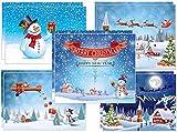 Juego de 10 tarjetas de Navidad: 5 diseños diferentes de muñecos de nieve de 2, cada uno, divertidos y pintados con amor