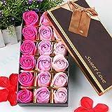 Cisixin 18 Piezas Rose Jabones Perfumados en Caja de Regalo (Rosa)