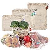 esonmus Bolsas de la Compra Reutilizables 8PCS Bolsas Reutilizables de Productos de Malla Bolsas De Compras para Juguetes De Verduras De Frutas Lavable (Beige)