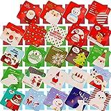 HOWAF 144 Piezas pequeño Tarjetas de Navidad, Feliz Navidad Tarjetas de felicitación en Blanco Tarjeta de Navidad en 24 diseños con Sobres para Regalo de niños, 2.7X 2.7 Pulgadas