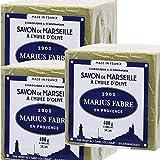 Marius Fabre–Jabón de Marsellaal aceite de oliva, pastilla de 400g–Juego de 3pastillas de 400g